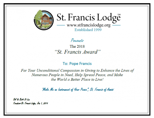 2018 St. Francis Award For Peace Winners Announced